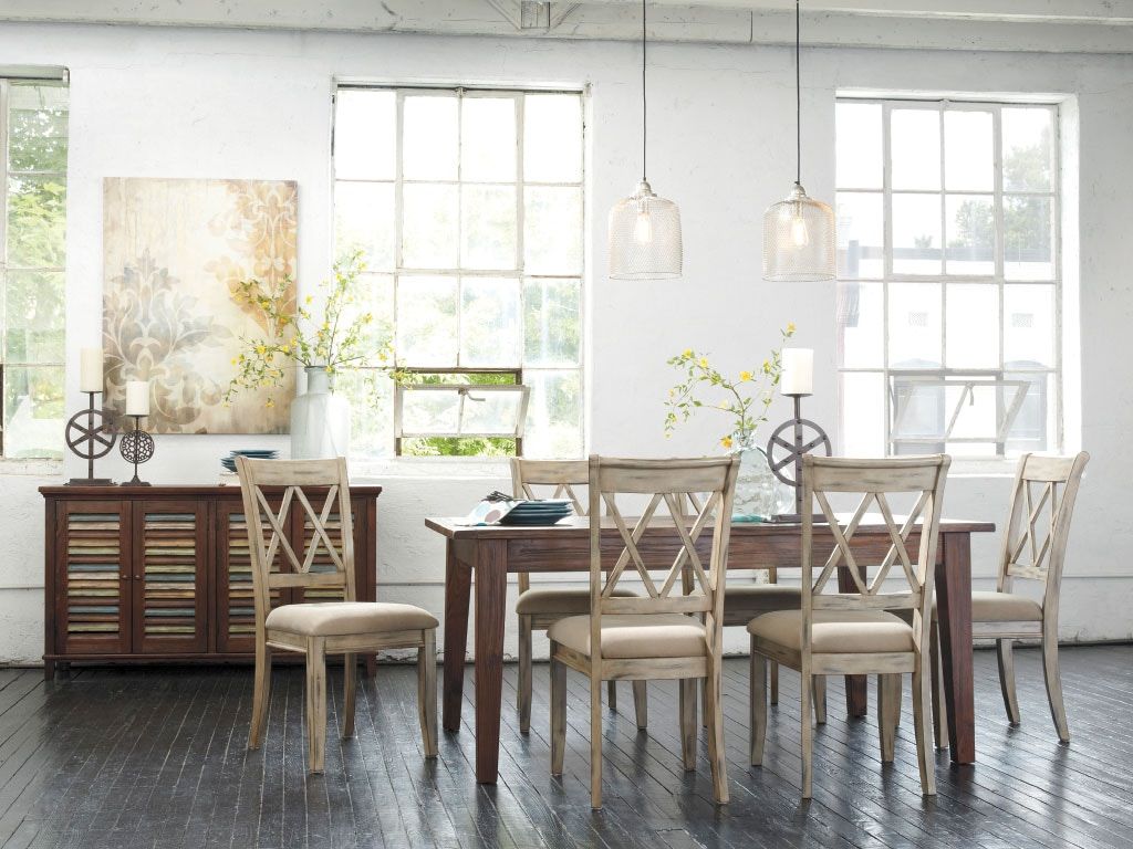 Ashley Dining Room Table 4 White Antique Side Chairs Dipkasdd540a American Factory Direct