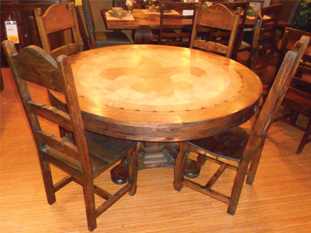 Vintage Furniture Dining Room Fleur Di Lis Dining Table And 4 Wood Side  Chairs DIPKVIMES09B At American Factory Direct