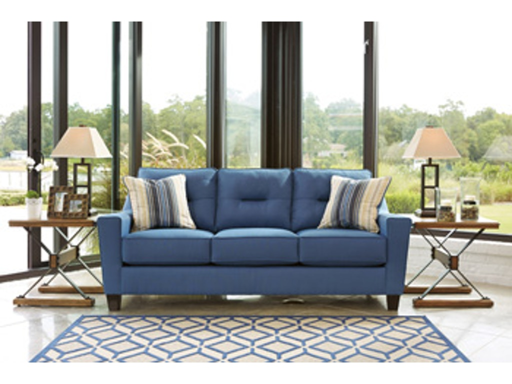 Ashley living room upholstered sofa nuvella sofa american factory direct baton rouge la for Chaise factory rouge