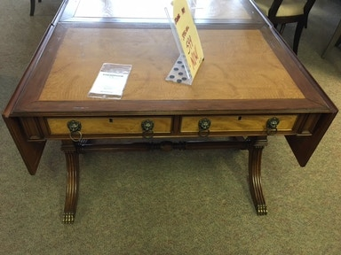 Clearance Transitional Wood Desk with Lionhead fixtures. Two desk extensions. Was: $1989.00 P960-00