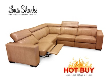 Louis Shanks Power leather sectional with articulated headrest.