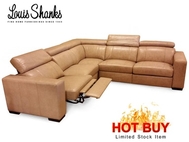 Louis Shanks Power Leather Sectional With Articulated Headrest