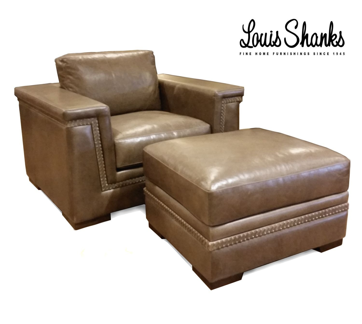 Artistic Leather Chair And Ottoman Set With Hand Lacing AL 1221 1 S