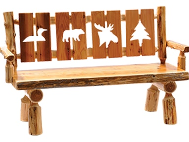 Cedar Cut-Out Log Bench with Back and Armrests