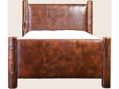 Leather & Log Upholstered King Bed