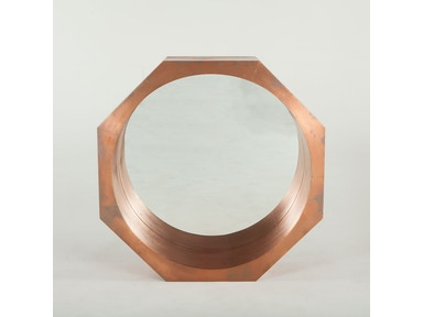 "INDUSTRIAL LOFT MIRROR 34"" , WOODEN AND COPPER OCTAGONAL"