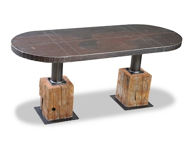 Rusty Tin Top with Beam Base Dining Table