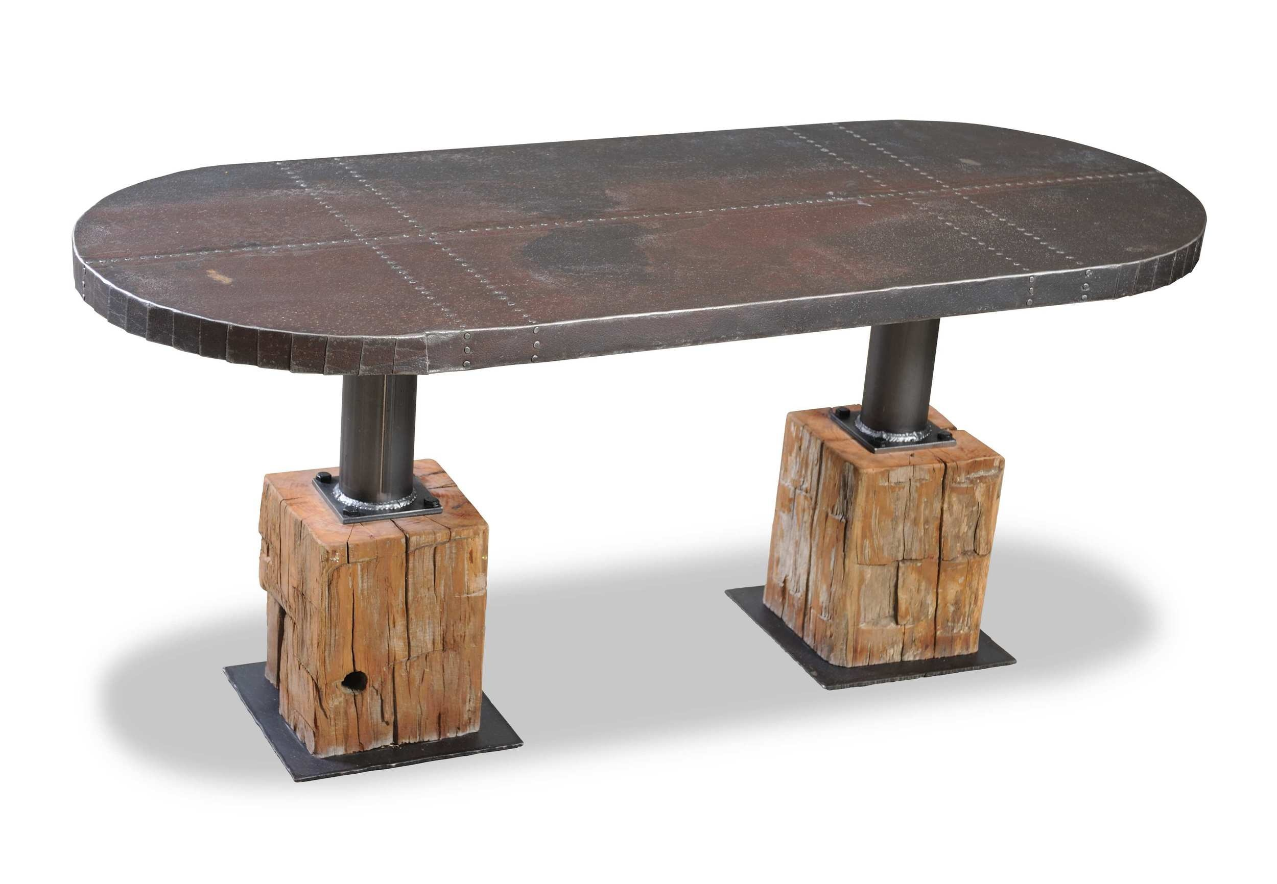 GLC Rusty Tin Top With Beam Base Dining Table RLC001