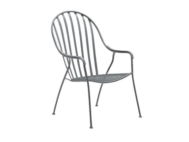 Wrought Iron Stackable High Back Barrel Chair
