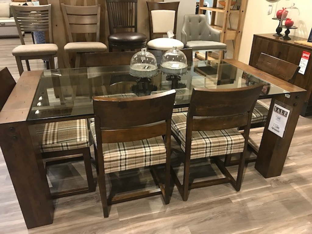 Canadel living room loft dining set including glass table and 6 fabric chairs canf ims 1722759 at klingmans