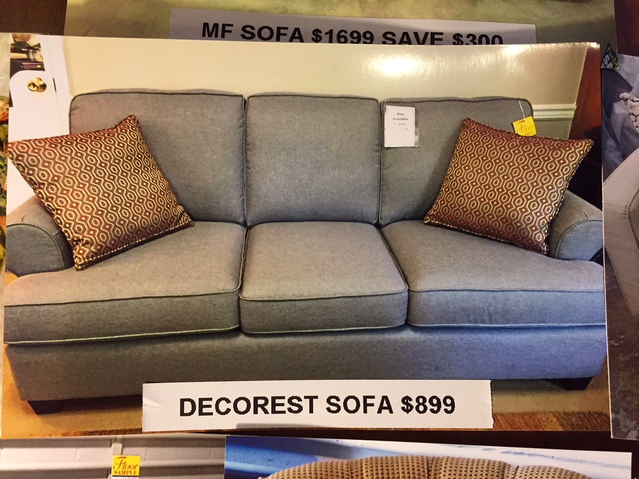 Decor Rest Living Room Grey Sofa 2402 At Rider Furniture