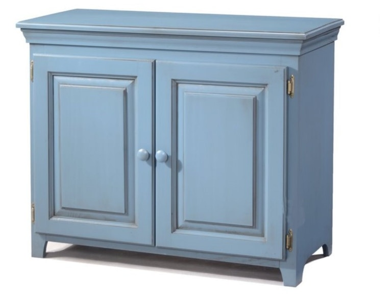 Archbold Solid Pine Wood 2 Door Low Cabinet With Doors In Glazed Blue Finish ARC573