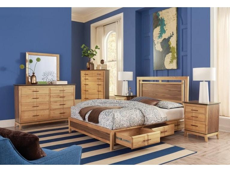 Whittier Wood Products Queen Addison Storage Bed In Alder Walnut Duet Finish 2018duet