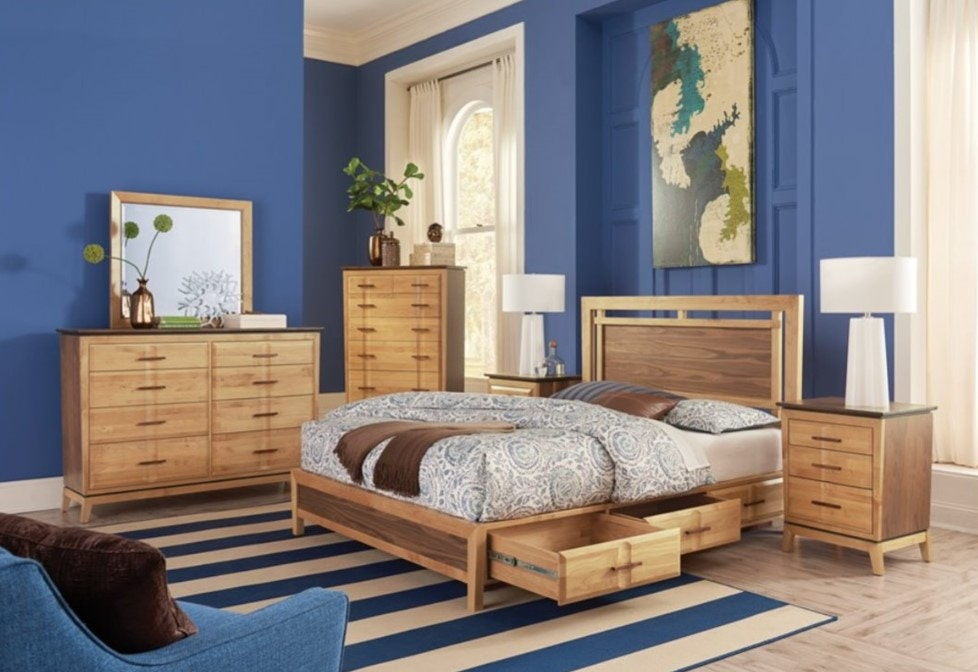 Whittier Wood Products Queen Addison Storage Bed In Alder U0026 Walnut Wood ,  Duet Finish 2018DUET
