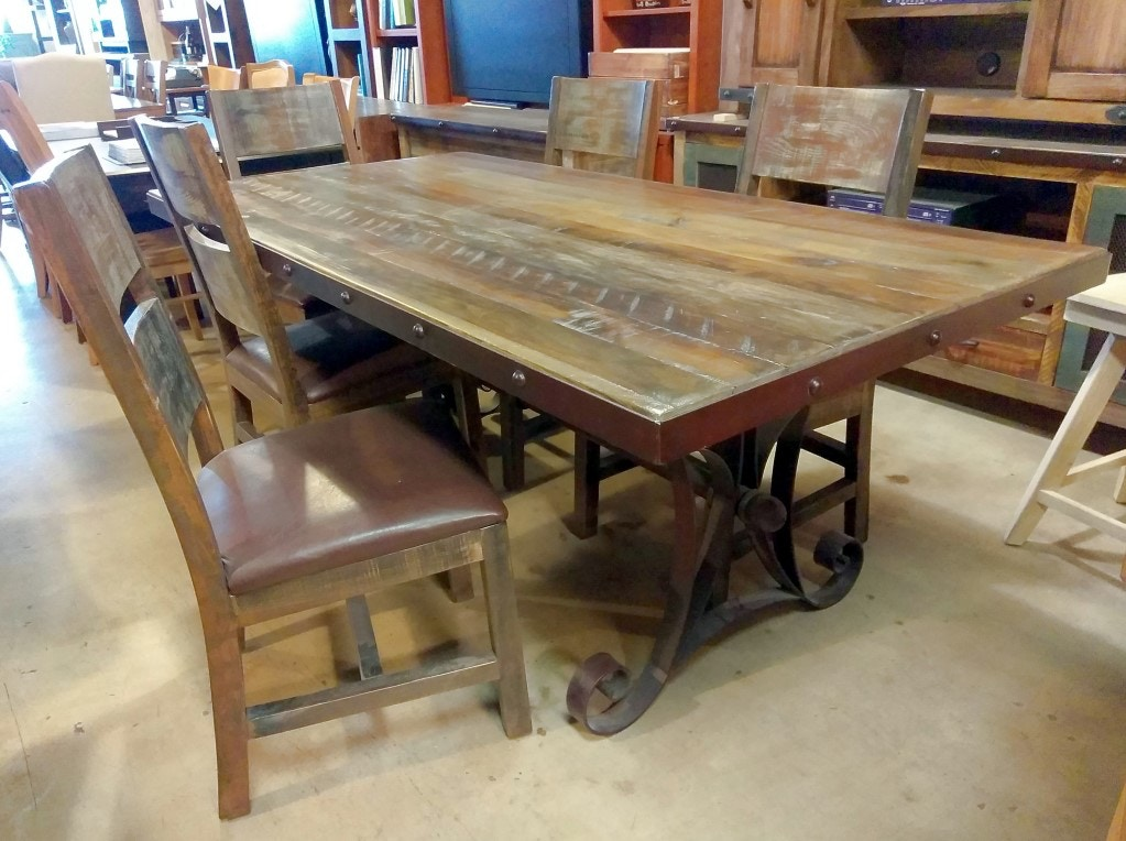 International Furniture Direct 7 Piece Dining Set. Rustic/Reclaimed Solid  Wood. CLR962