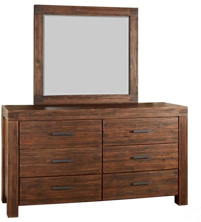Mod Furn Bedroom Modern Rustic Six Drawer Solid Wood Dresser With