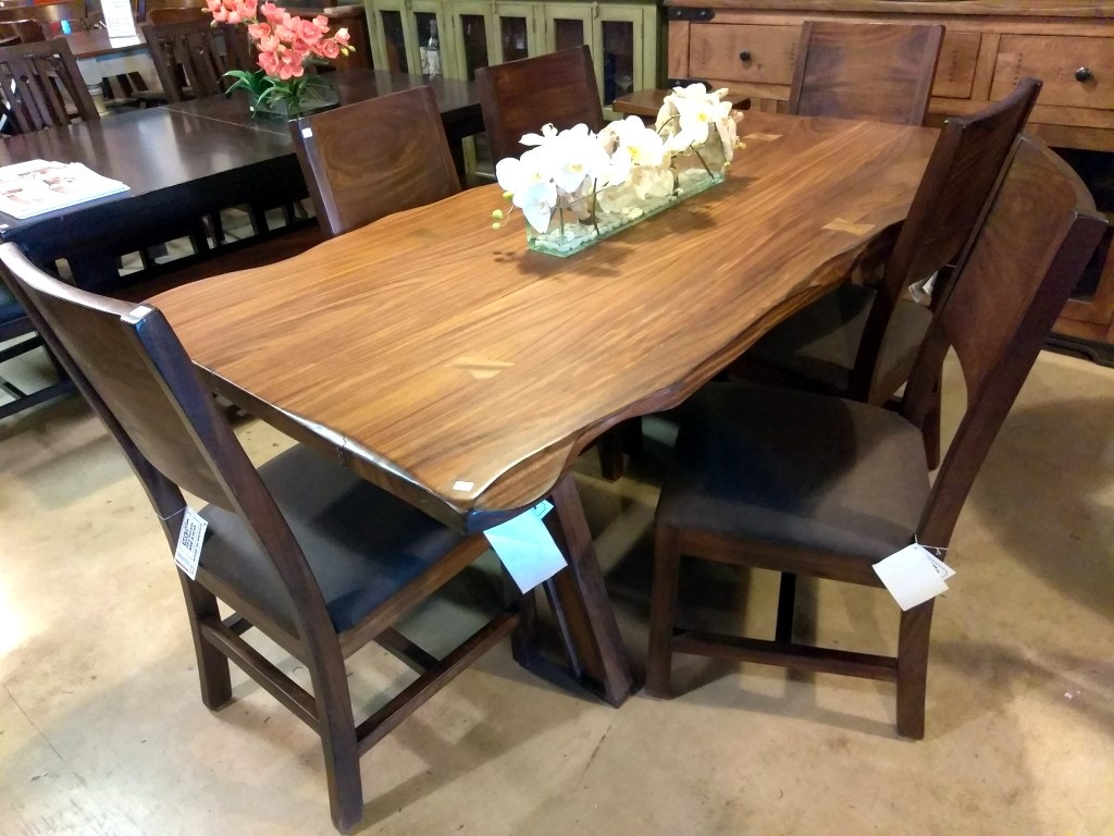 International Furniture Direct 7 Piece Rustic Dining Set Solid Wood 868
