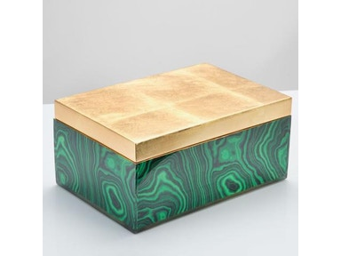 Malachite Box Gold Lid 10059