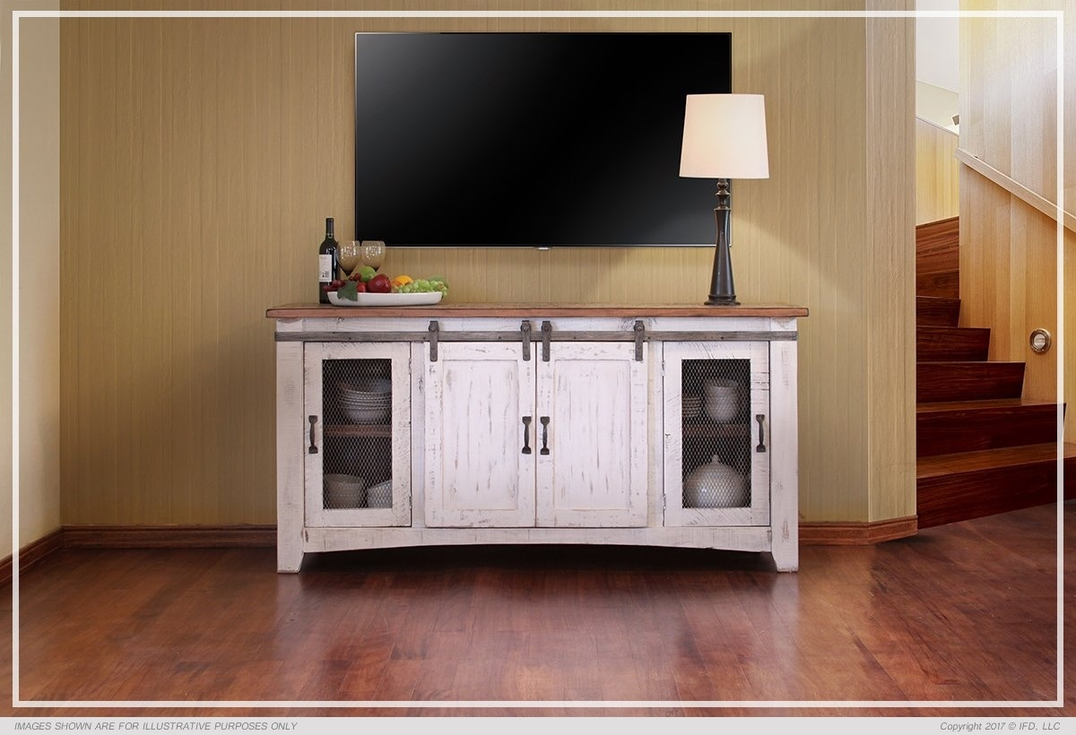 Lovely International Furniture Living Room PUEBLO WHITE 70 T. V. STAND 360STAND 70  At Short Furniture Co.