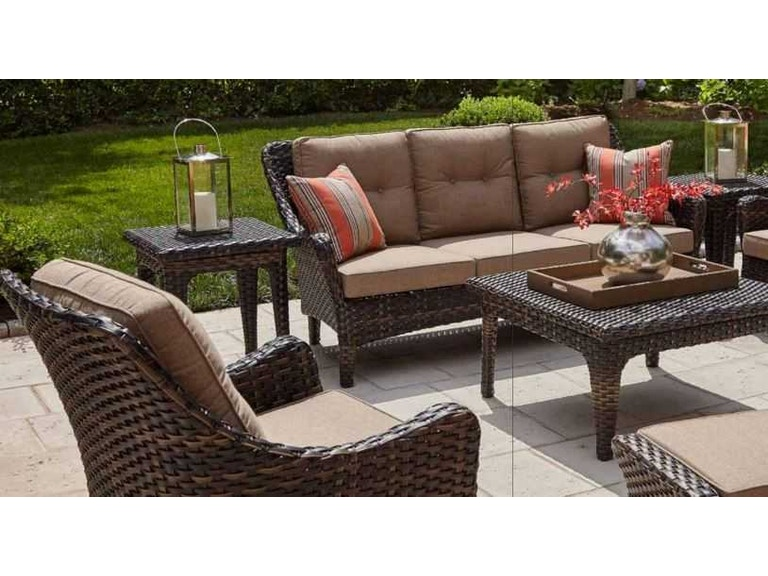 Clearance Bailey Walnut Woven Sofa Set With Sunbrella Fabric