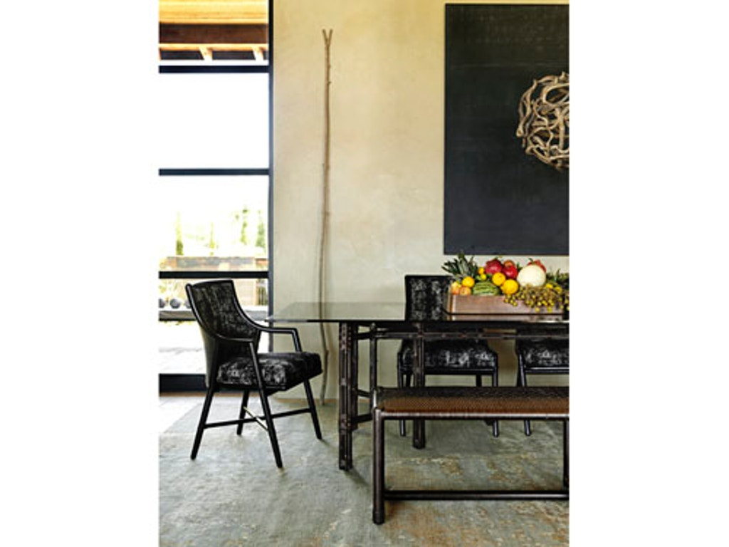 Black bamboo dining table - Mcguire Rectangular Dining Table On Black Bamboo Base Mcg Ba 22