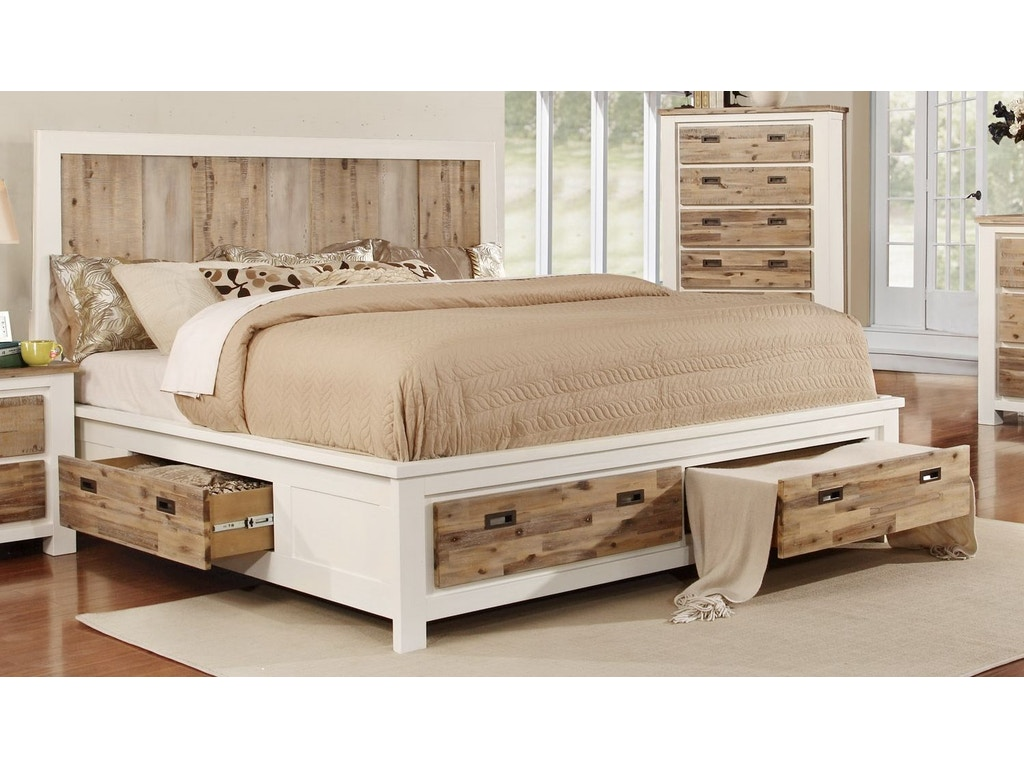 Lifestyle Bedroom Furniture Lifestyle Bedroom Rustic 2 Tone Storage Bed Queen And California