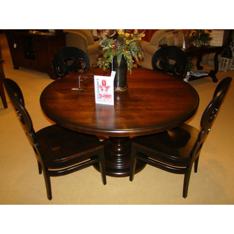 Amish Oak And Cherry Dining Room 54 Round Solid Top With Sophia Base 4  Alsace Side Chairs Amish Oak Furniture 89 Table And Chairs | Hickory  Furniture Mart ...