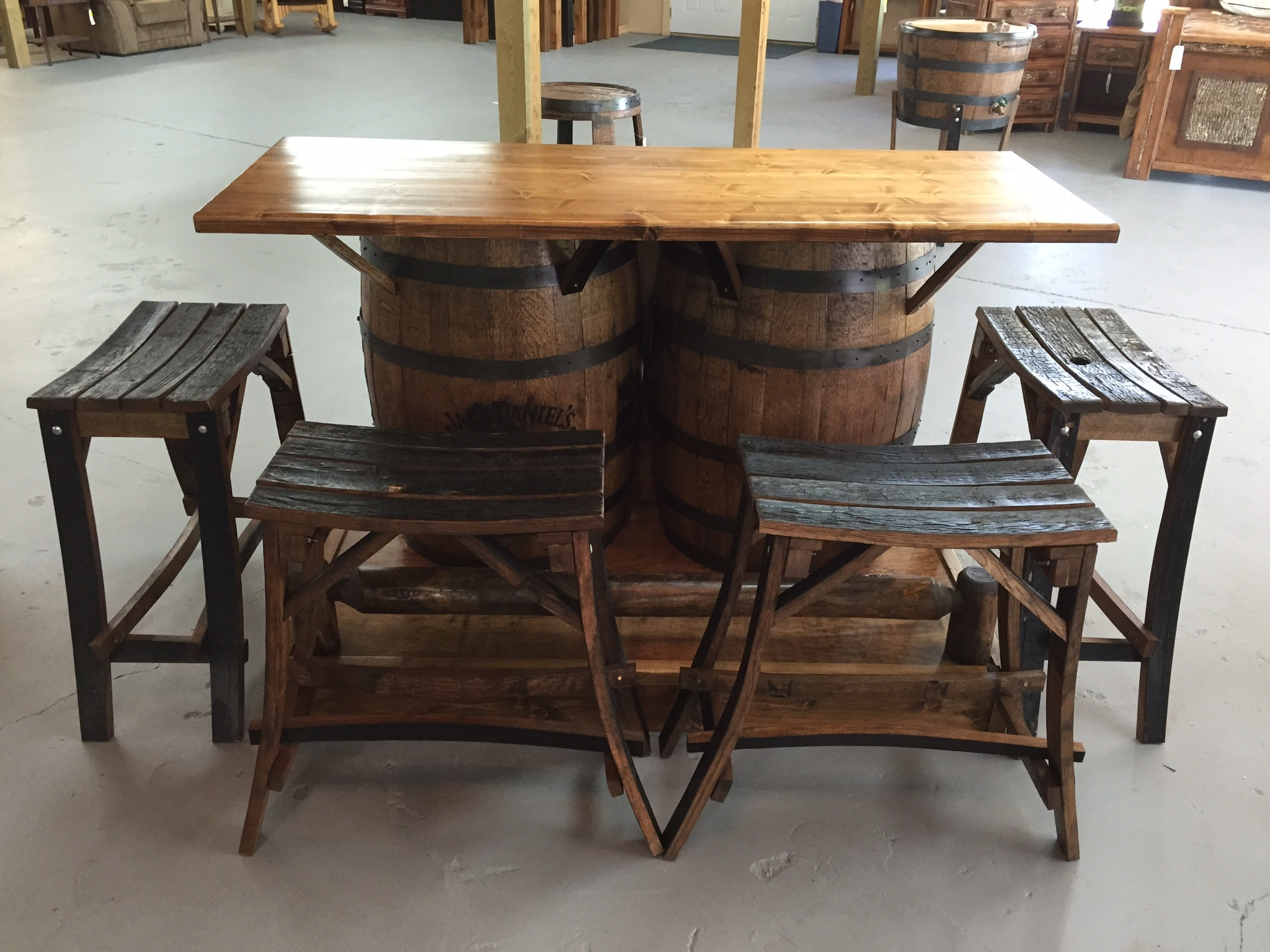 Twigs furniture bar and game room jack daniels barrel bar for Furniture jack