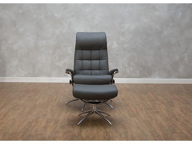 Stressless by Ekornes Living Room London High Back Chair & Ottoman ...