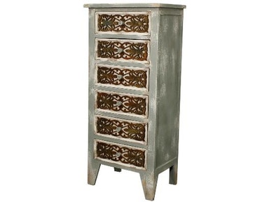 New Pacific Direct Lourdes Gray 6 Drawer Cabinet 522506