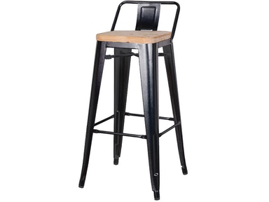 New Pacific Direct Black Wood Seat Stool 501851