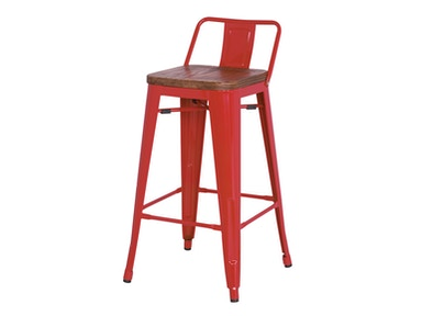 New Pacific Direct Red Wood Seat Stool 501855