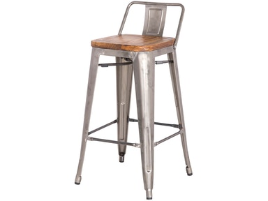New Pacific Direct Gun Metal Wood Seat Stool 501858