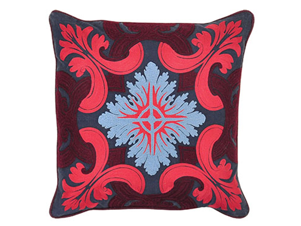 Classic Home Accessories Venice Navy Burgundy Pillow 18 X