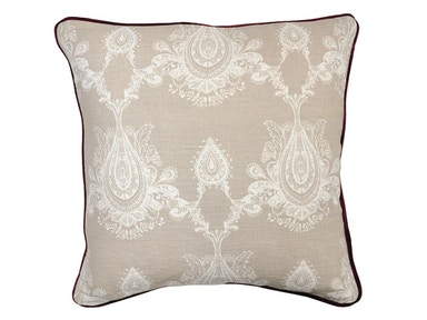 "Classic Home Mimi Natural and Burgandy Pillow 22"" x 22"" 515520"