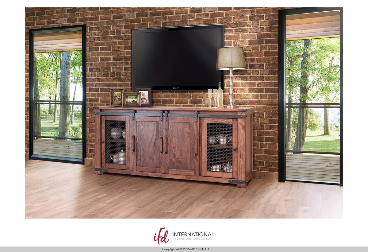 International Furniture Direct Parota Rustic 80 TV Stand 7463830 At  Gustafsonu0027s Furniture And Mattress