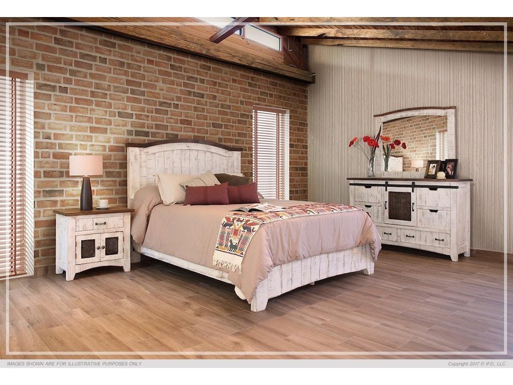 international furniture direct 360 pueblo white queen bed frame set ifd360hbd pltfrm q - White Queen Bed Frame