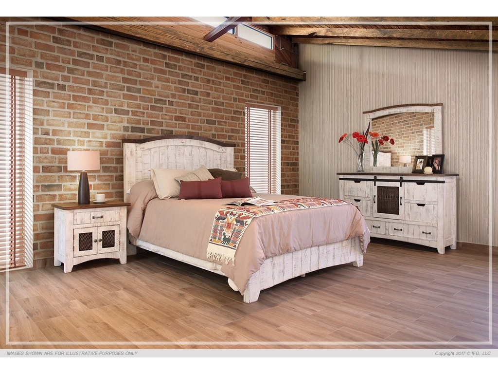 international furniture direct 360 pueblo white queen bed frame set ifd360hbd pltfrm q - White Queen Bed Frame