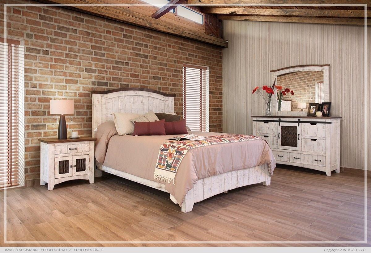 International Furniture Direct 360 Pueblo White Queen Bed Frame Set  IFD360HBD PLTFRM Q,