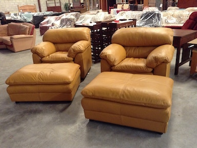 Slone Clearance Center Contemporary leather chair and matching ottoman 256