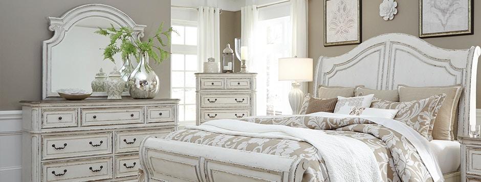 Magnolia Manor Bedroom Set, White Farmhouse Bedroom Furniture