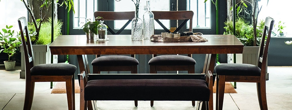 Canadel Custom Modern Transitional Hardwood Dining Room Furniture Table And Chairs