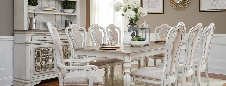 Magnolia Manor Modern Farmhouse White Dining Room Set