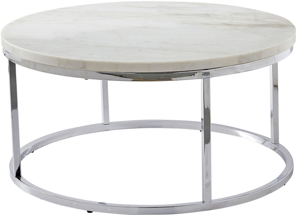 Steve Silver Living Room Echo White Marble Top Round Cocktail