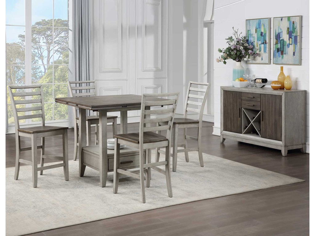 Silver Dining Table And Chairs, Steve Silver Dining Room Abacus 5 Piece Drop Leaf Counter Table Set X Virtual 418 Wenz Home
