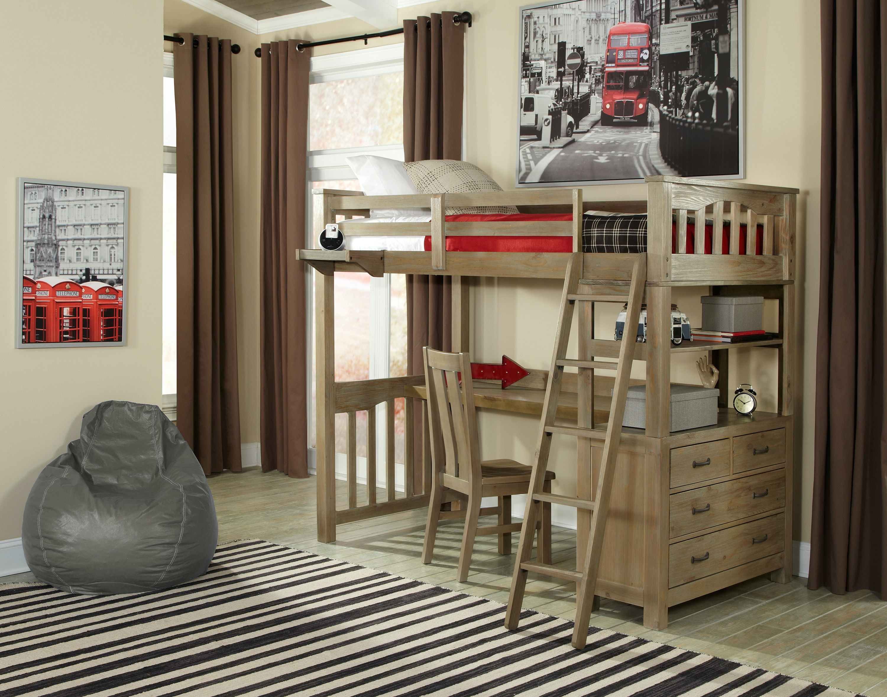 Hillsdale Kids And Teen Highlands Twin Loft Bed With Desk And Chair 10070NDC