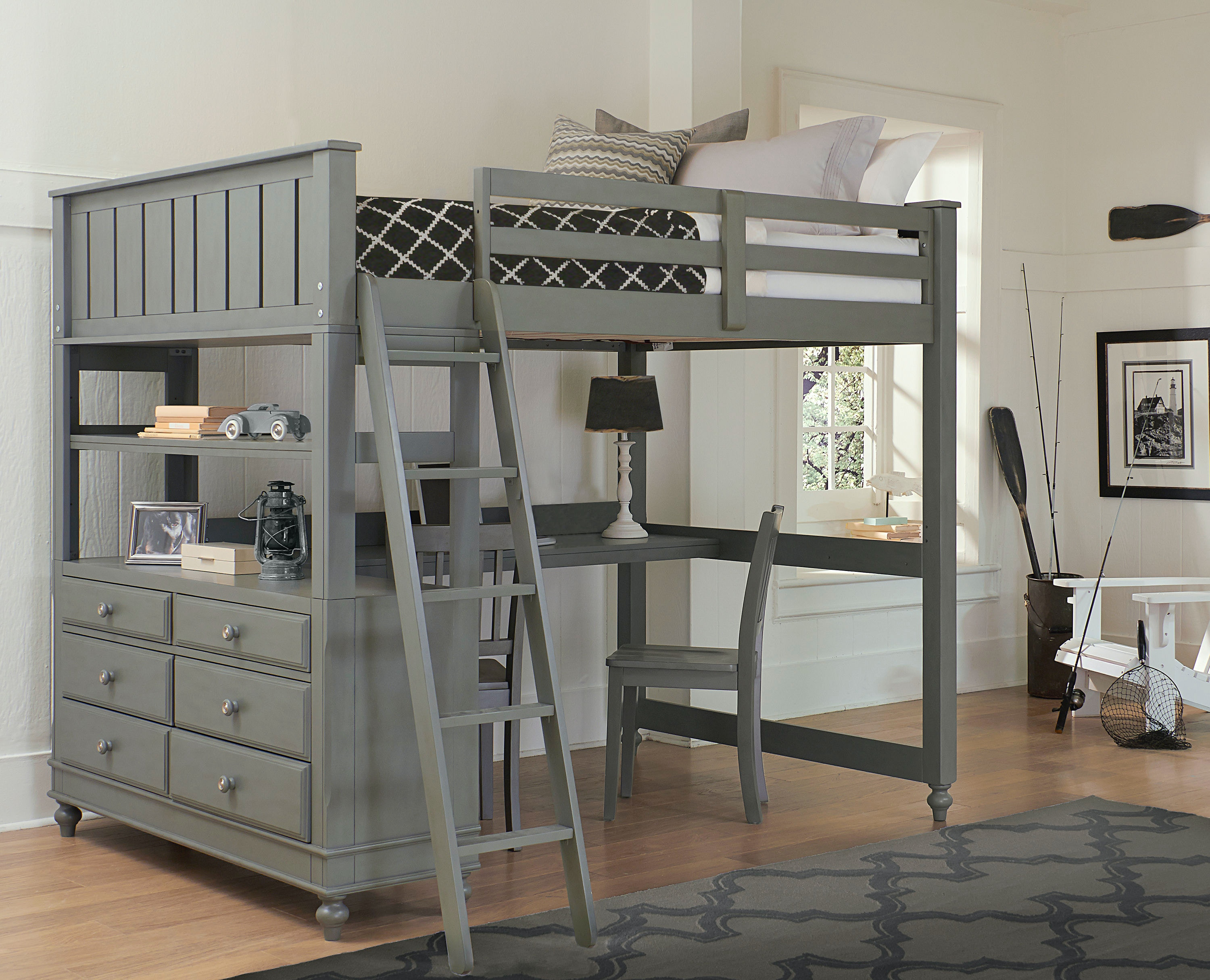 Full Loft Bed With Desk For Teens Hillsdale Kids and Teen Lake House Full Loft With Desk 2045ND