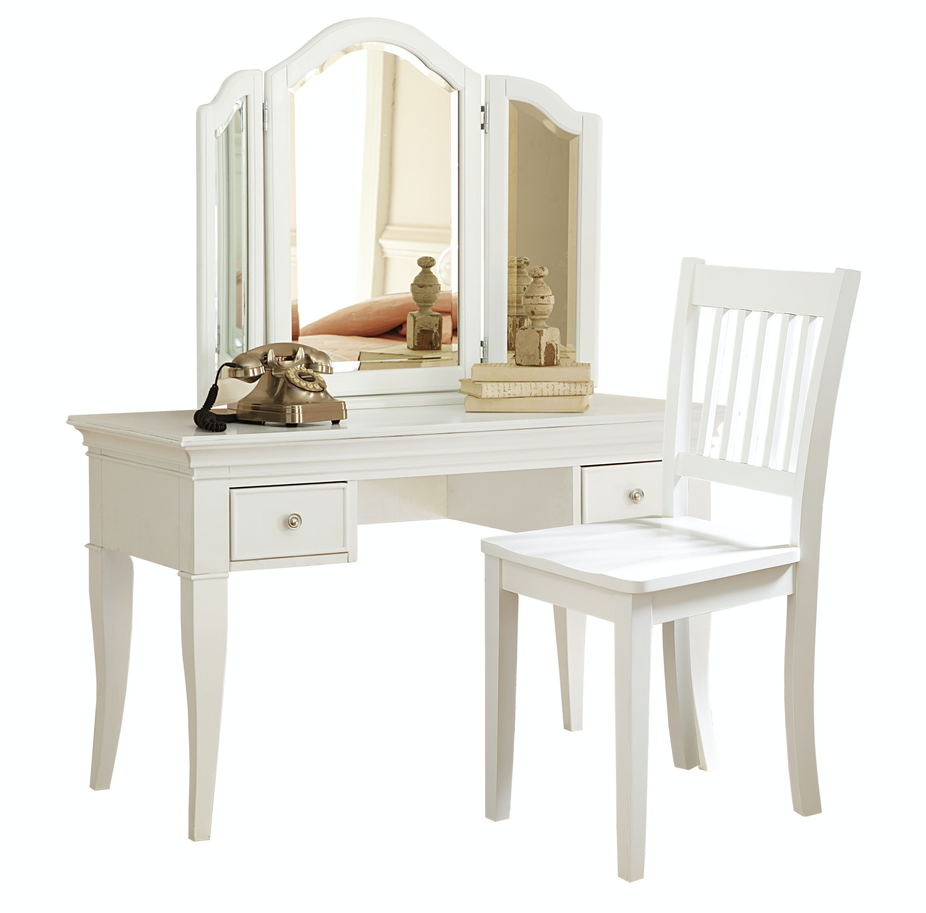 Hillsdale Kids And Teen Walnut Street Desk With Vanity Storage Mirror And  Chair 8540NDVC