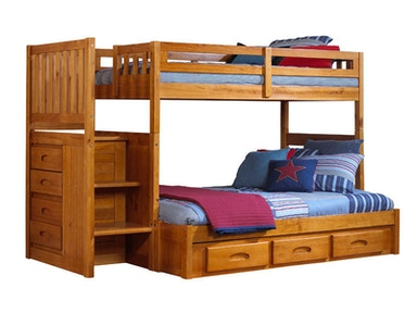 Hillsdale Kids and Teen Honey Twin - Full Mission Staircase Bunk 2114F