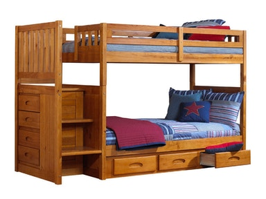 Hillsdale Kids and Teen Honey Twin - Twin Mission Staircase Bunk 2114T